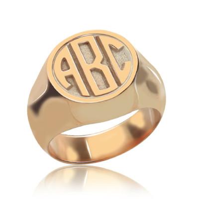 Circle Signet Personalised Ring with Block Monogram Rose Gold - AMAZINGNECKLACE.COM