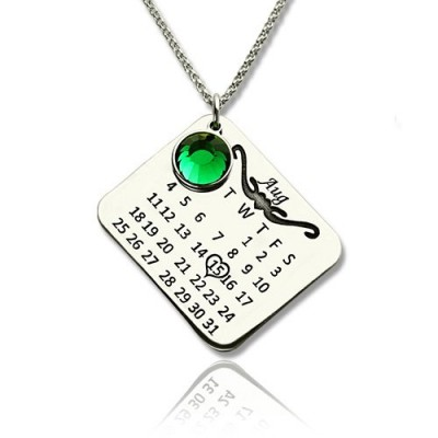 Birthstone Birthday Calendar Personalised Necklace Gifts Sterling Silver  - AMAZINGNECKLACE.COM