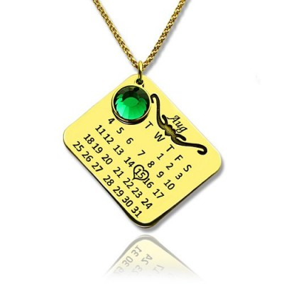 Birth Day Gifts - Birthday Calendar Personalised Necklace 18ct Gold Plated - AMAZINGNECKLACE.COM