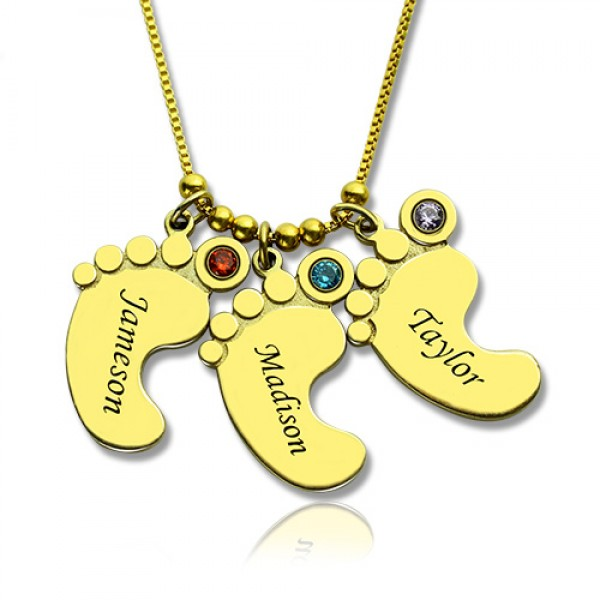 Mother Pendant Baby Feet Personalised Necklace 18ct Gold Plated - AMAZINGNECKLACE.COM