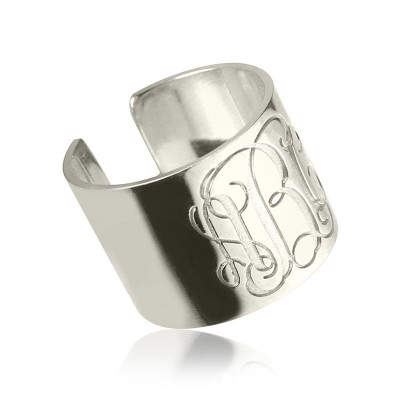 Personalised Monogram Cuff Ring Sterling Silver - AMAZINGNECKLACE.COM
