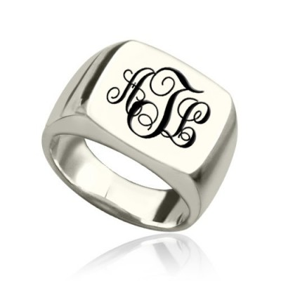 Personalised Signet Ring Sterling Silver with Monogram - AMAZINGNECKLACE.COM