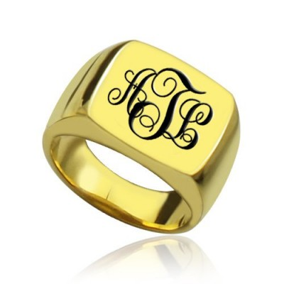 Custom 18ct Gold Plated Monogram Signet Personalised Ring - AMAZINGNECKLACE.COM