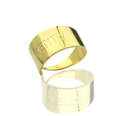 18ct Gold Plated Name Engraved Cuff Personalised Rings - AMAZINGNECKLACE.COM