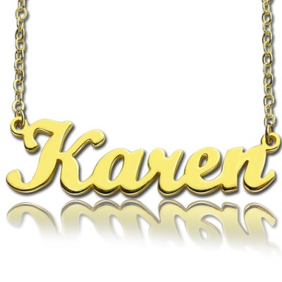 Gold Plated 925 Silver Karen Style Name Personalised Necklace - AMAZINGNECKLACE.COM