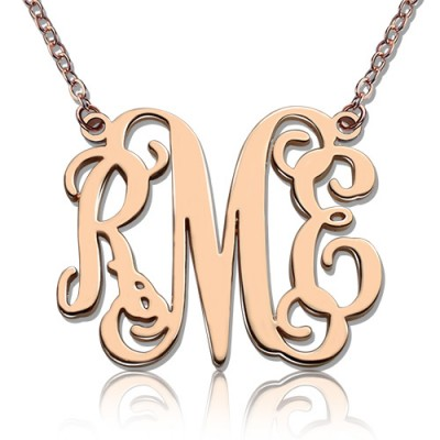 Custom 18ct Rose Gold Plated Monogram Initial Personalised Necklace - AMAZINGNECKLACE.COM