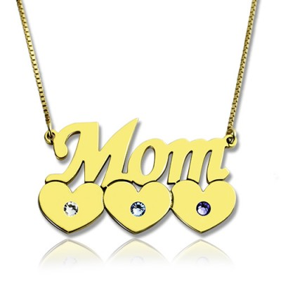 Moms Personalised Necklace With Children Birthstone In 18ct Gold Plated  - AMAZINGNECKLACE.COM