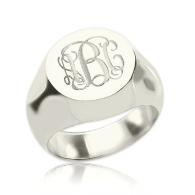 Signet Personalised Ring Sterling Silver Engraved Monogram - AMAZINGNECKLACE.COM