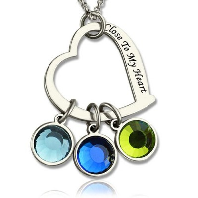 Open Heart Promise Phrase Personalised Necklace with Birthstone  - AMAZINGNECKLACE.COM