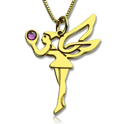 Fairy Birthstone Personalised Necklace for Girlfriend 18ct Gold Plated Silver 925  - AMAZINGNECKLACE.COM