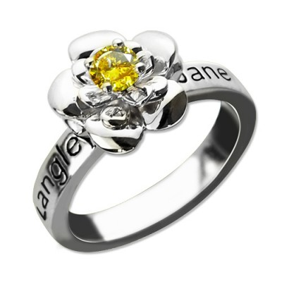 Promise Rose Personalised Ring Engraved Name  Birthstone Sterling Silver  - AMAZINGNECKLACE.COM