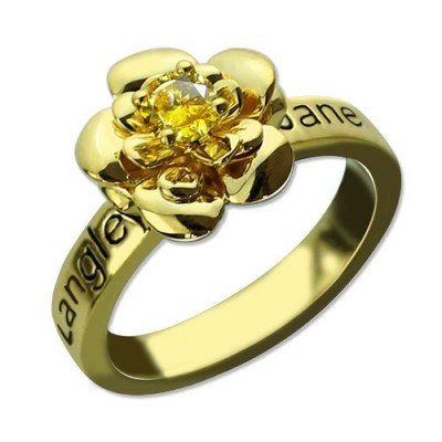 Promise Rose Personalised Ring for Her with Birthstone 18ct Gold Plated  - AMAZINGNECKLACE.COM