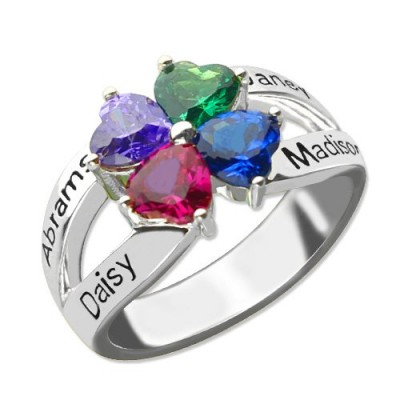 Personalised Mothers Name Ring with Birthstone Sterling Silver  - AMAZINGNECKLACE.COM