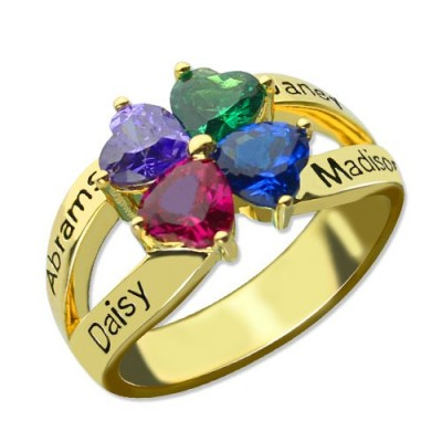 Family Personalised Ring for Mom Four Clover Hearts in 18ct Gold Plated - AMAZINGNECKLACE.COM