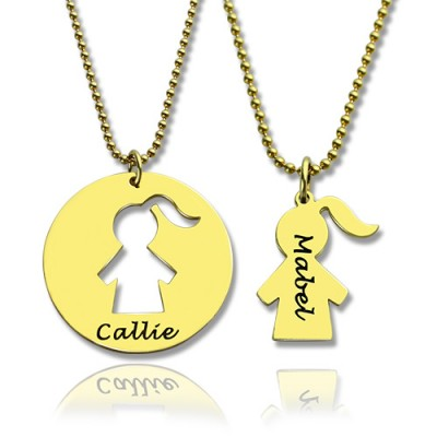 Mother and Child Personalised Necklace Set with Name 18ct Gold Plated - AMAZINGNECKLACE.COM