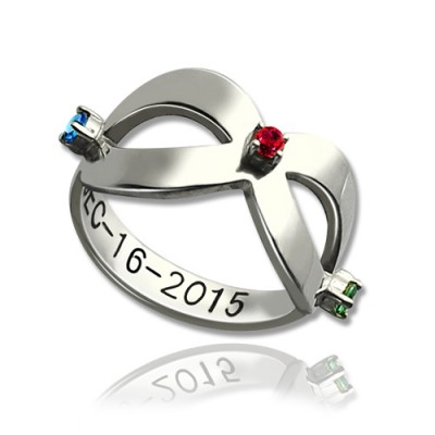 Infinity Birthstones Personalised Ring Engraved Date Sterling Silver  - AMAZINGNECKLACE.COM