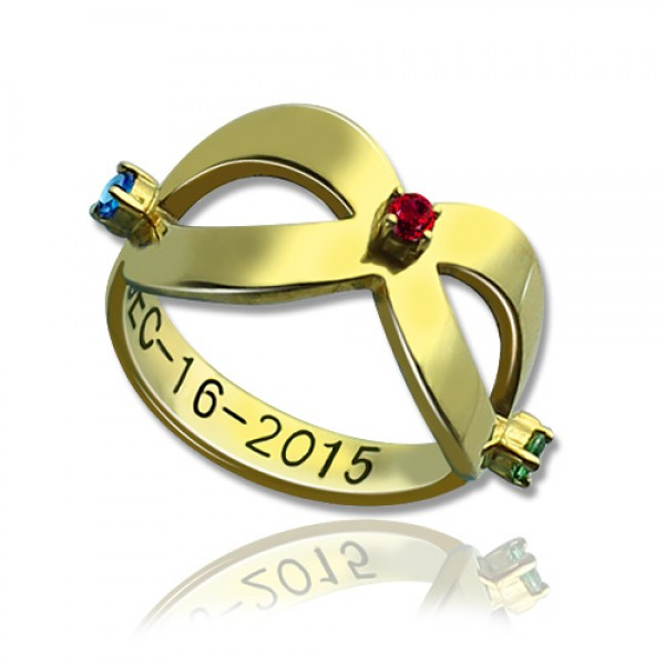 18ct Gold Plated Engraved Infinity Birthstone Personalised Ring  - AMAZINGNECKLACE.COM