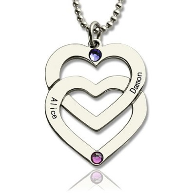 Personalised Double Heart Necklace Engraved Name Sterling Silver - AMAZINGNECKLACE.COM