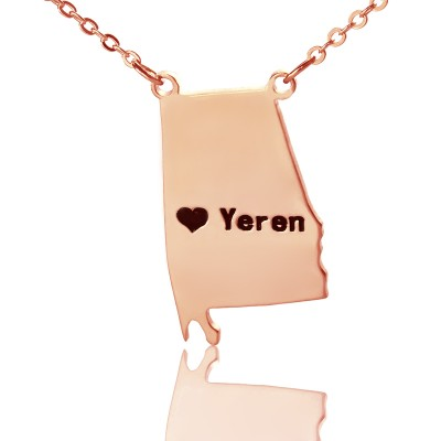 Custom Alabama State USA Map Personalised Necklace With Heart  Name Rose Gold - AMAZINGNECKLACE.COM
