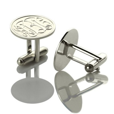 Engraved Cufflinks with Monogram Sterling Silver - AMAZINGNECKLACE.COM