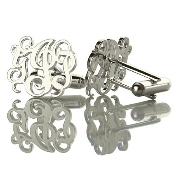 Personalised Cufflinks with Monogram Sterling Silver - AMAZINGNECKLACE.COM