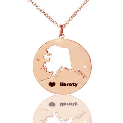 Custom Alaska Disc State Personalised Necklaces With Heart  Name Rose Gold - AMAZINGNECKLACE.COM