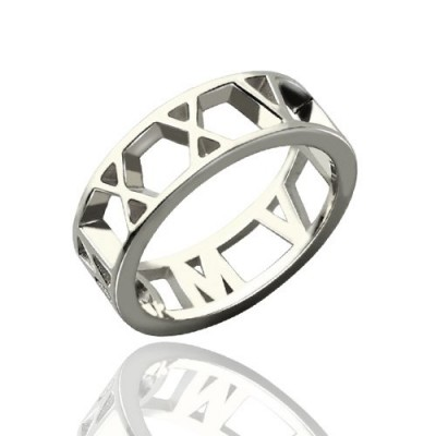 Personalised Roman Numerals Open Rings Sterling Silver - AMAZINGNECKLACE.COM