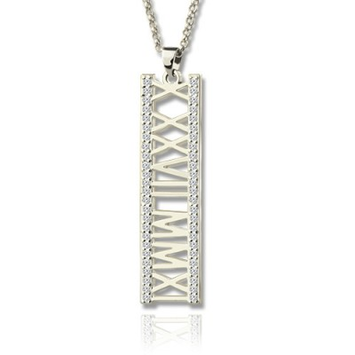 Roman Numeral Vertical Personalised Necklace With Birthstones Sterling Silver  - AMAZINGNECKLACE.COM