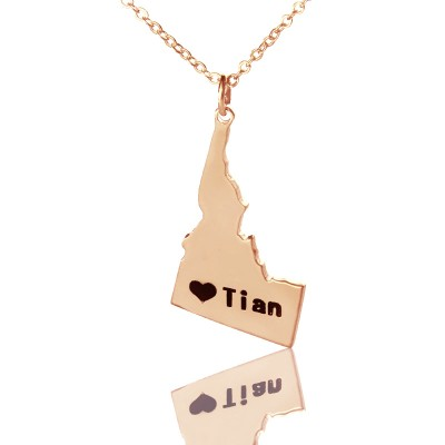 Idaho State USA Map Personalised Necklace With Heart  Name Rose Gold - AMAZINGNECKLACE.COM