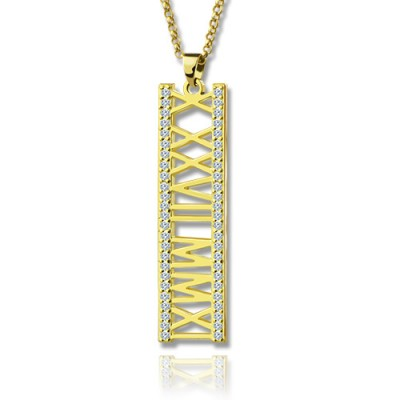 18ct Gold Plated Roman Numeral Personalised Necklace With Birthstone  - AMAZINGNECKLACE.COM