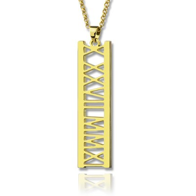 Vetical Roman Bar Personalised Necklace 18ct Gold Plated - AMAZINGNECKLACE.COM