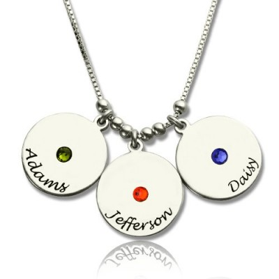 Mother's Disc and Birthstone Charm Personalised Necklace  - AMAZINGNECKLACE.COM