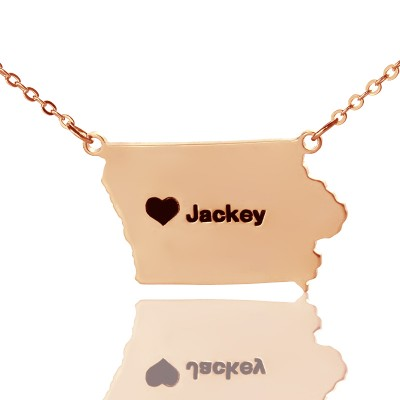 Iowa State USA Map Personalised Necklace With Heart  Name Rose Gold - AMAZINGNECKLACE.COM
