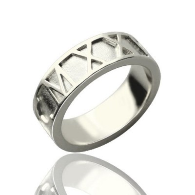 Personalised Roman Numerals Band Ring Sterling Silver - AMAZINGNECKLACE.COM