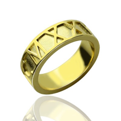 18ct Gold Plated Roman Numeral Date Personalised Rings - AMAZINGNECKLACE.COM