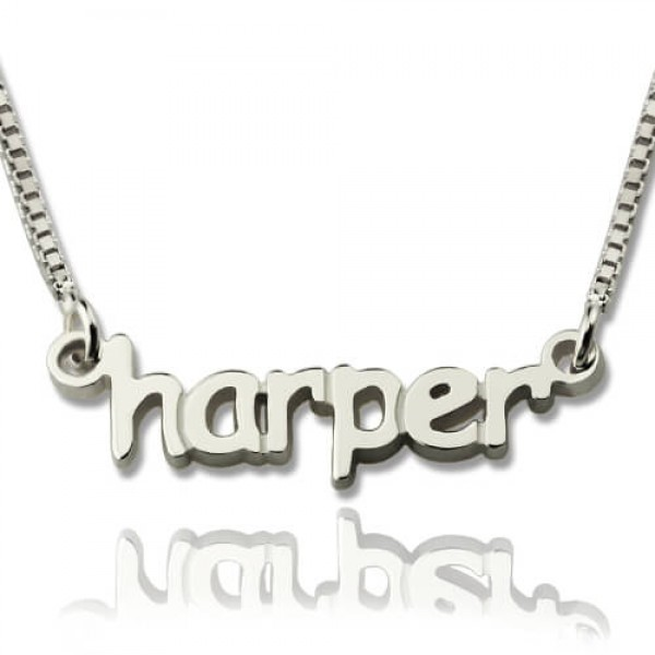 Personalised Mini Name Letter Necklace Sterling Silver - AMAZINGNECKLACE.COM