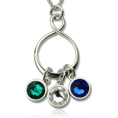 Personalised Birthstone Infinity Charm Necklace  - AMAZINGNECKLACE.COM