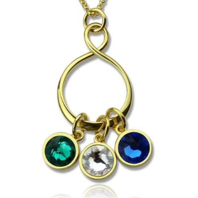 Personalised Family Infinity Necklace with Birthstones 18ct Gold Plate  - AMAZINGNECKLACE.COM