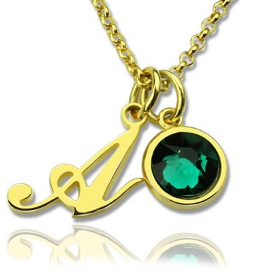 Custom Birthstone Initial Personalised Necklace 18ct Gold Plated  - AMAZINGNECKLACE.COM