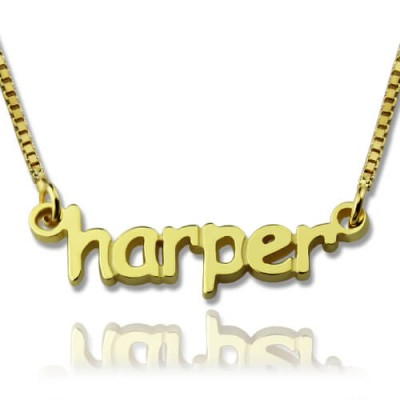 Personalised Mini Name Necklace 18ct Gold Plated - AMAZINGNECKLACE.COM