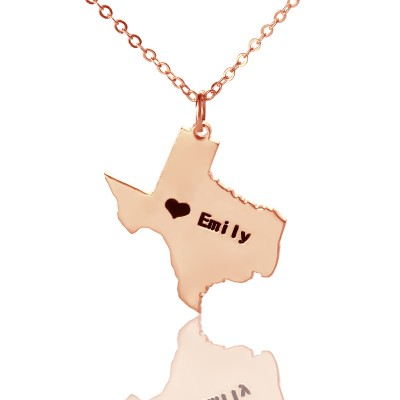 Texas State USA Map Personalised Necklace With Heart  Name Rose Gold - AMAZINGNECKLACE.COM