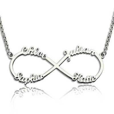 Sterling Silver Infinity Symbol Personalised Necklace 4 Names - AMAZINGNECKLACE.COM