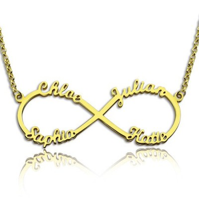 Custom 18ct Gold Plated Infinity Personalised Necklace 4 Names - AMAZINGNECKLACE.COM