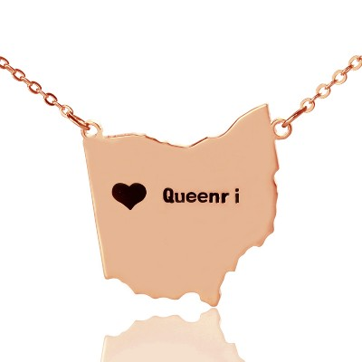 Custom Ohio State USA Map Personalised Necklace With Heart  Name Rose Gold - AMAZINGNECKLACE.COM