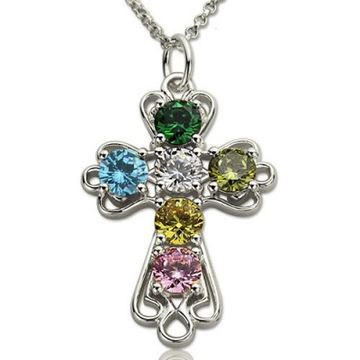 Personalised Cross Necklace with Birthstones Sterling Silver  - AMAZINGNECKLACE.COM