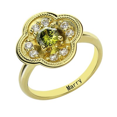 Blossoming Engagement Personalised Ring Engraved Birthstone 18ct Gold Plated  - AMAZINGNECKLACE.COM