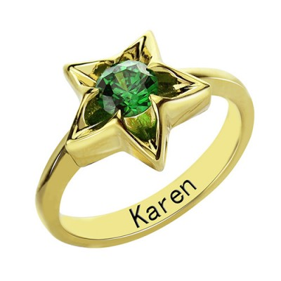 Personalised Star Ring with Birthstone Gold Plated Silver  - AMAZINGNECKLACE.COM