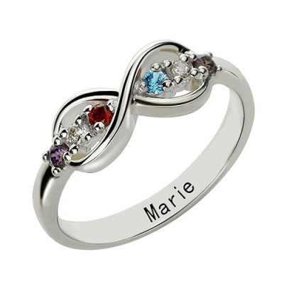 Sterling Silver or Rose Gold Personalised Infinity Name plate Rings for Her - AMAZINGNECKLACE.COM