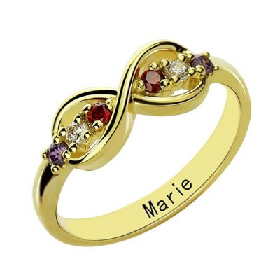 18ct Gold Plated Infinity Promise Personalised Rings with Birthstone  - AMAZINGNECKLACE.COM