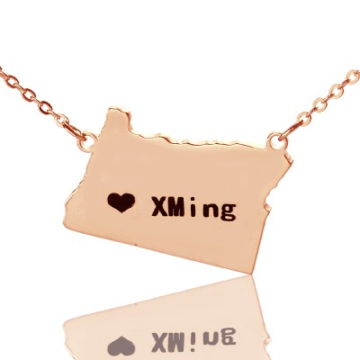 Custom Oregon State USA Map Personalised Necklace With Heart  Name Rose Gold - AMAZINGNECKLACE.COM